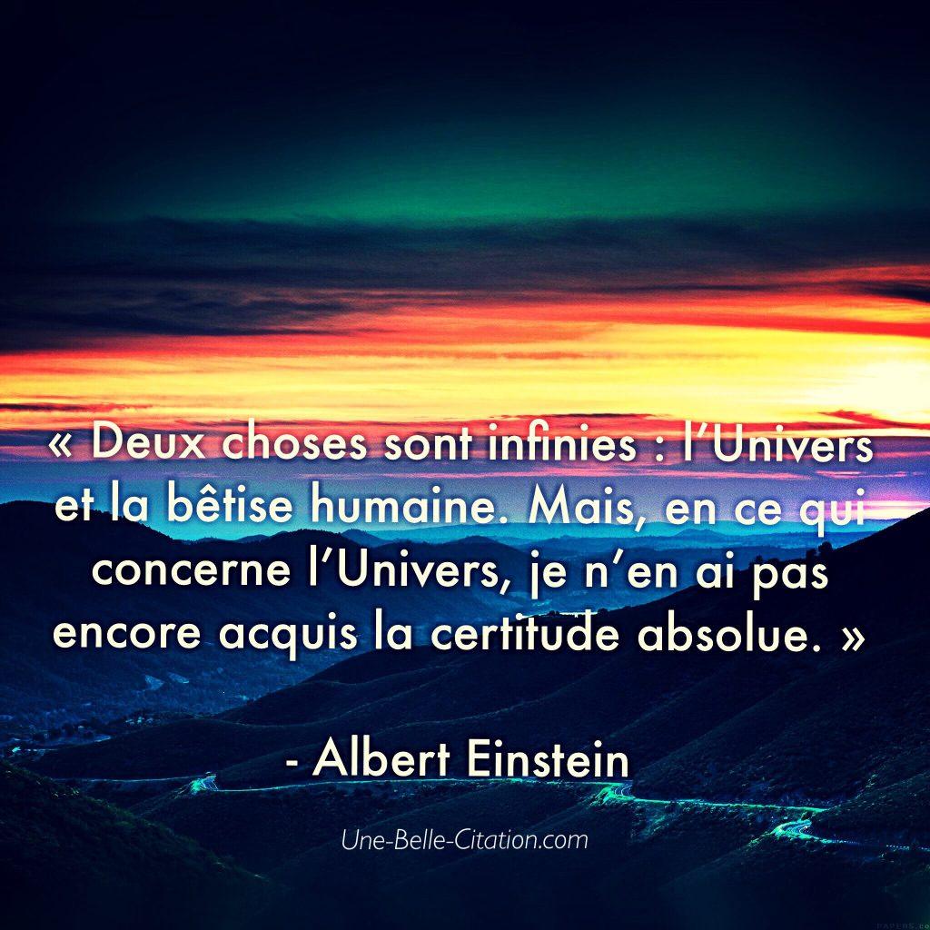 « Deux choses sont infinies : l'Univers et la bêtise humaine. Mais, en ce qui concerne l'Univers, je n'en ai pas encore acquis la certitude absolue. »