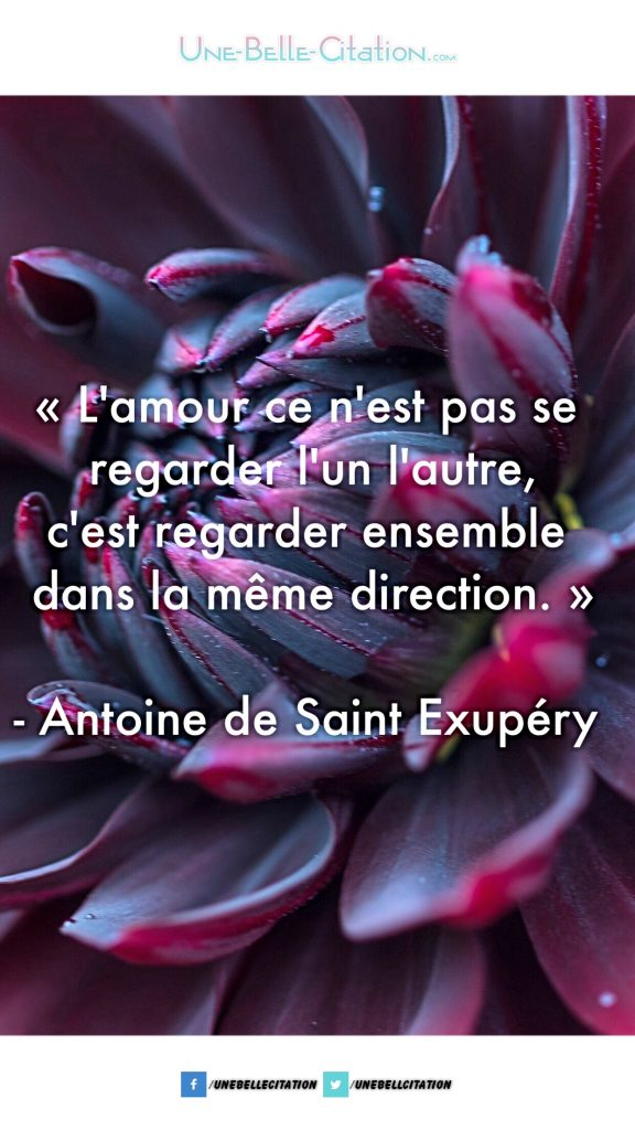 «L'amour ce n'est pas se regarder l'un l'autre, c'est regarder ensemble dans la même direction.»  – Antoine de Saint-Exupéry